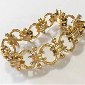 Vintage 1980s gold tone chain link bracelet unique